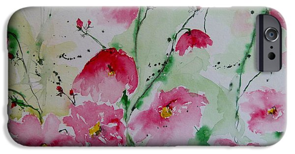 Ismeta iPhone Cases - Flowers - watercolor painting iPhone Case by Ismeta Gruenwald