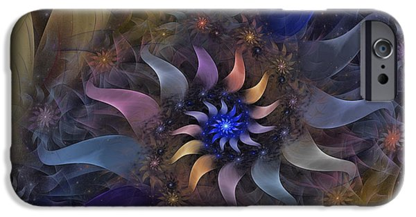Poetic iPhone Cases - Flowery Fractal Composition With Stardust iPhone Case by Karin Kuhlmann