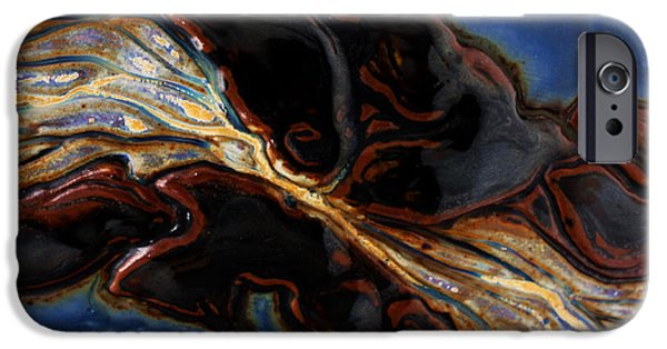 Abstracts Ceramics iPhone Cases - Flowing Textures iPhone Case by Gail Frasier