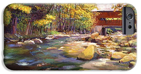 Featured Paintings iPhone Cases - Flowing Water At Red Bridge iPhone Case by David Lloyd Glover
