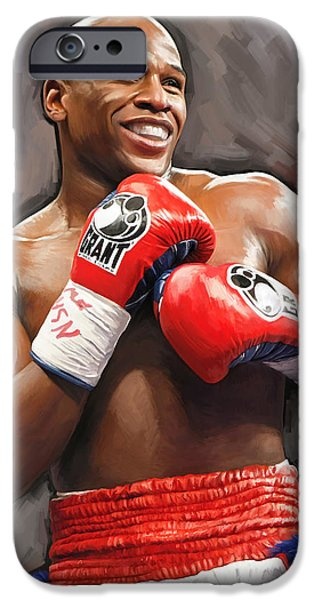 Sport Portraits Mixed Media iPhone Cases - Floyd Mayweather Artwork iPhone Case by Sheraz A