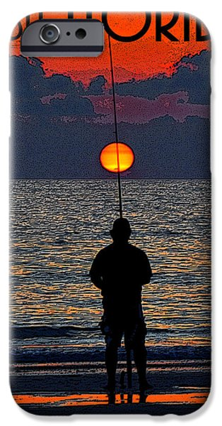 Sunset Posters iPhone Cases - Visit Florida poster work A iPhone Case by David Lee Thompson