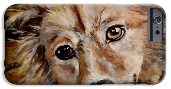 Dog Close-up Drawings iPhone Cases - Fluffy iPhone Case by Carol Russell