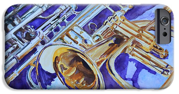 Trumpet Paintings iPhone Cases - Flugel and Friends iPhone Case by Jenny Armitage