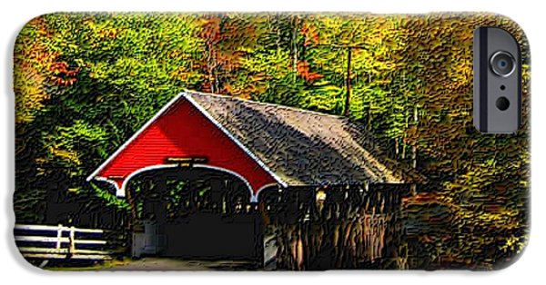 Covered Bridge Mixed Media iPhone Cases - Flume Covered Bridge NH iPhone Case by L Brown