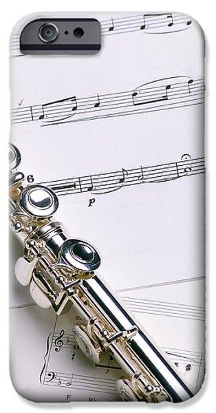 Flute iPhone Cases - Flute on Music iPhone Case by Jon Neidert