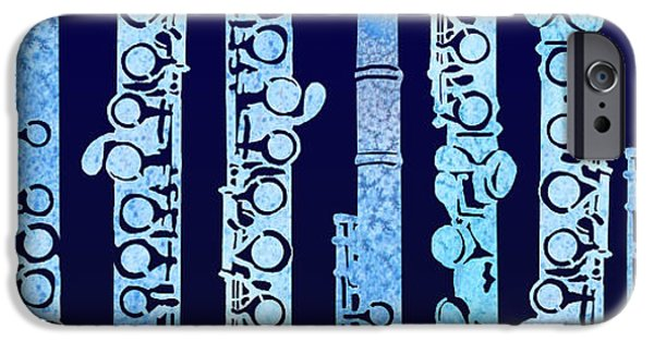 Flute iPhone Cases - Flutes in Blue iPhone Case by Jenny Armitage