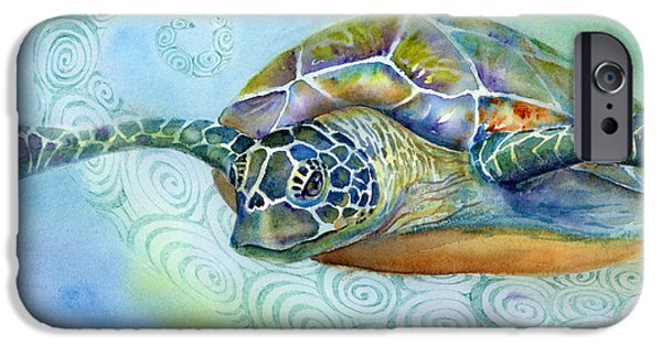 Ocean Turtle Paintings iPhone Cases - Fly By iPhone Case by Amy Kirkpatrick