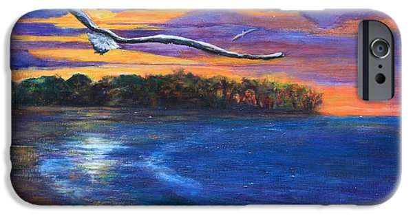 Flying Seagull Paintings iPhone Cases - Fly By Night II iPhone Case by Susi LaForsch