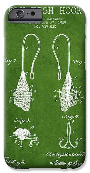 Sports Fish iPhone Cases - Fly Fish Hook Patent from 1909- Green iPhone Case by Aged Pixel