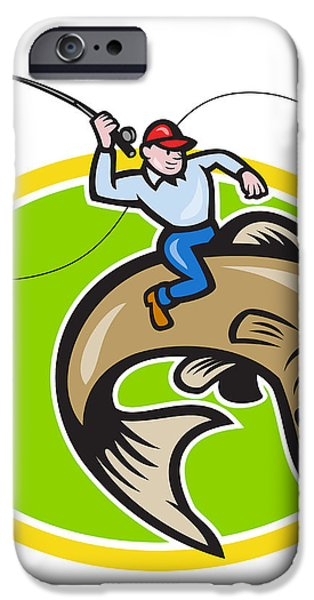 Fly Fisherman Riding Trout Fish Cartoon iPhone Case by Aloysius Patrimonio