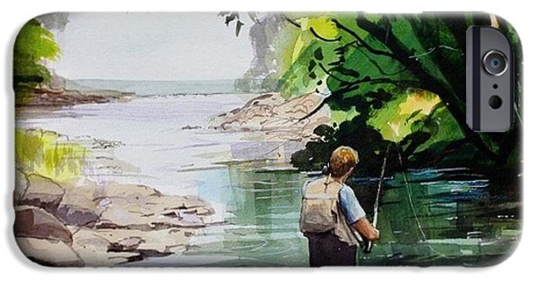 Canada Sports Paintings iPhone Cases - Fly Fishing iPhone Case by Bruce  Repei
