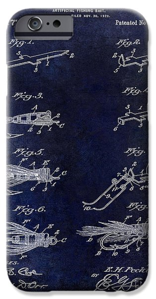 Shark iPhone Cases - 1922 Fly Fishing Lure Blue iPhone Case by Jon Neidert