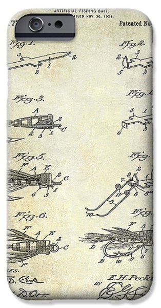 Shark iPhone Cases - 1922 Fly Fishing Lure Patent Drawing iPhone Case by Jon Neidert