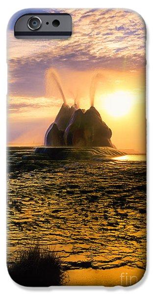 Alga Photographs iPhone Cases - Fly Geyser Sunrise iPhone Case by Inge Johnsson