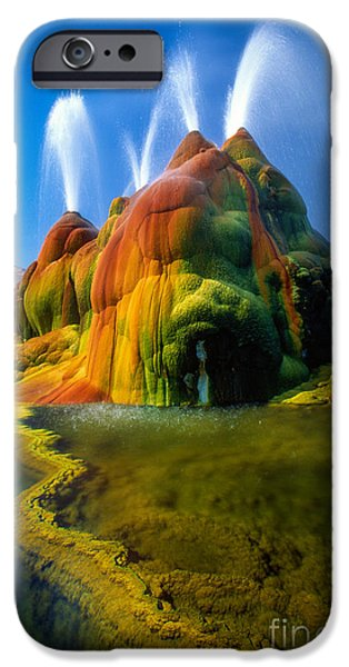 Alga Photographs iPhone Cases - Fly Geyser Travertine iPhone Case by Inge Johnsson