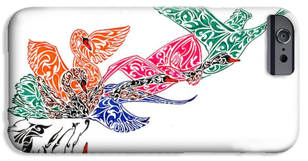 Pen And Ink iPhone Cases - Fly High iPhone Case by Anushree Santhosh