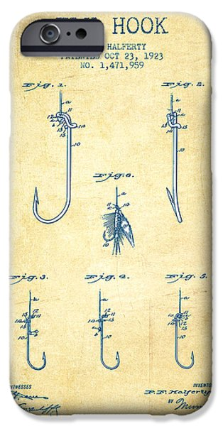 Reeling iPhone Cases - Fly Hook Patent from 1923 - Vintage Paper iPhone Case by Aged Pixel