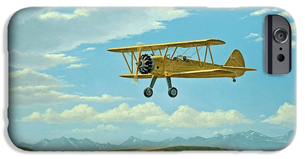 Biplane iPhone Cases - Fly-In At Three Forks - Stearman   iPhone Case by Paul Krapf