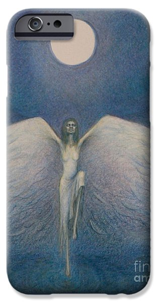 Night Angel Drawings iPhone Cases - Fly me to the Moon iPhone Case by Chiyuky Itoga