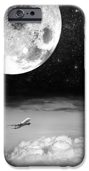 Jet Star iPhone Cases - Fly Me To The Moon iPhone Case by Semmick Photo