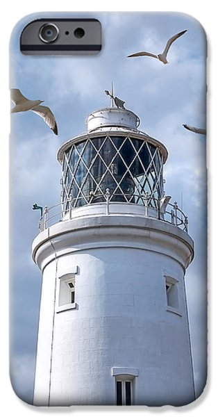 Flying Seagull iPhone Cases - Fly Past - Seagulls Round Southwold Lighthouse iPhone Case by Gill Billington