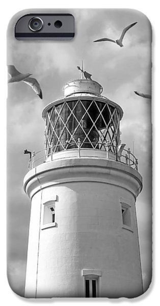 Flying Seagull iPhone Cases - Fly Past - Seagulls Round Southwold Lighthouse in Black and White iPhone Case by Gill Billington