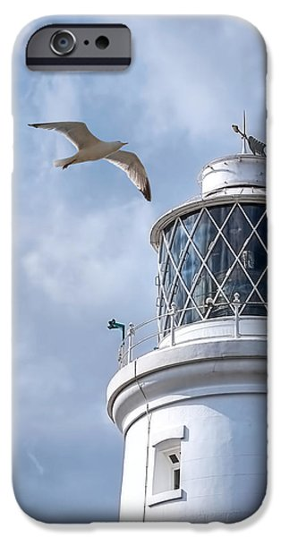 Flying Seagull iPhone Cases - Fly Past - Seagulls Round Southwold Lighthouse - Square iPhone Case by Gill Billington