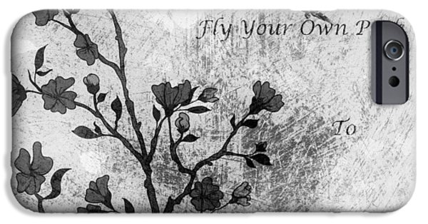 Cherry Blossoms Mixed Media iPhone Cases - Fly Your Way To Freedom Black and White iPhone Case by Georgiana Romanovna