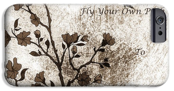 Zeana Romanovna iPhone Cases - Fly Your Way To Freedom Sepia iPhone Case by Georgiana Romanovna