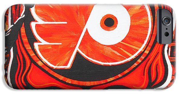 Hockey Paintings iPhone Cases - Flyer Love iPhone Case by Kevin J Cooper Artwork
