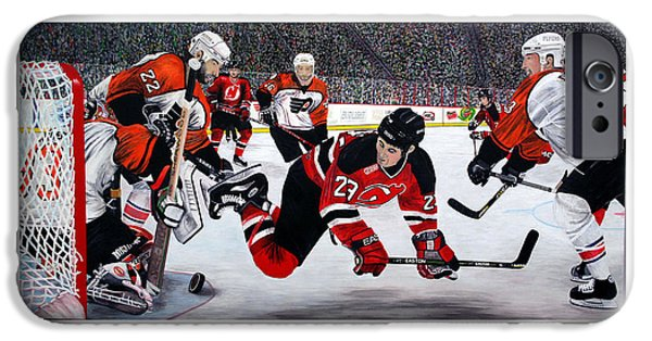 Hockey Paintings iPhone Cases - Flyers/Devils iPhone Case by Mark Richardson