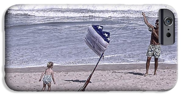 Recently Sold -  - Independance Day iPhone Cases - Flying a Kite on the Beach I Rehoboth Beach Delaware iPhone Case by Jim Vansant