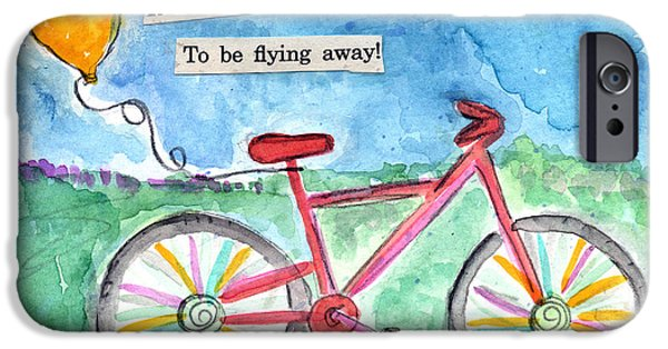 Transportation Mixed Media iPhone Cases - Flying Away- bicycle and balloon painting iPhone Case by Linda Woods
