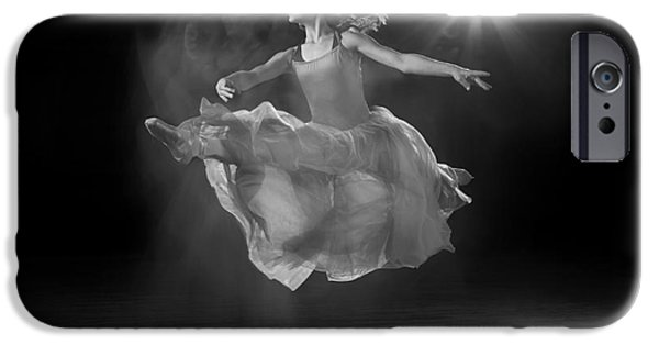 Ballet Dancers iPhone Cases - Flying Ballerina in Black and White iPhone Case by Cindy Singleton
