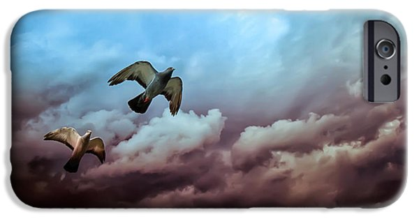 Pigeon iPhone Cases - Flying before the storm iPhone Case by Bob Orsillo