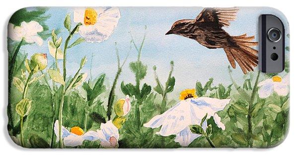 Botanic Illustration iPhone Cases - Flying Bird iPhone Case by Masha Batkova