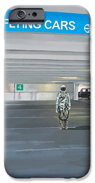 Science Paintings iPhone Cases - Flying Cars to the Right iPhone Case by Scott Listfield