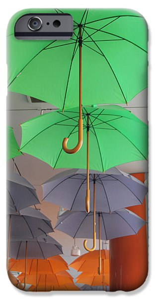 Modern Abstract iPhone Cases - Flying colorful umbrellas  iPhone Case by Diana Dimitrova