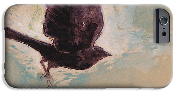 Crows iPhone Cases - Flying Crow iPhone Case by Tracie Thompson