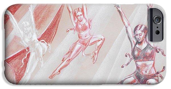 Ballet Dancers Drawings iPhone Cases - Flying Dancers  iPhone Case by Irina Sztukowski