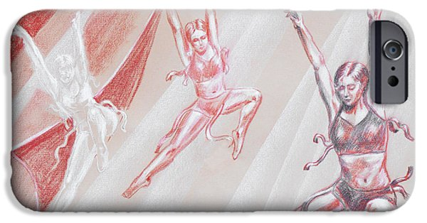 Ballet Drawings iPhone Cases - Flying Dancers  iPhone Case by Irina Sztukowski