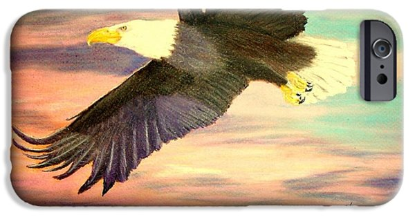 Eagle Pastels iPhone Cases - Flying Eagle iPhone Case by Jay Johnston