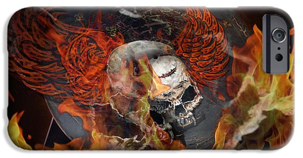 H.r. Giger iPhone Cases - Flying fire skull on the guitar iPhone Case by Jakub DK