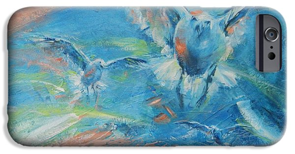 Flying Seagull Paintings iPhone Cases - Flying Free iPhone Case by Dan Campbell