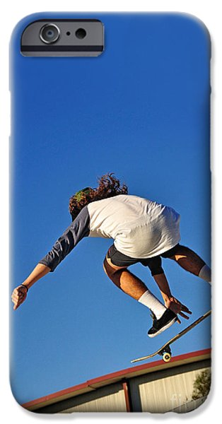 Skateboards iPhone Cases - Flying High - Action iPhone Case by Kaye Menner