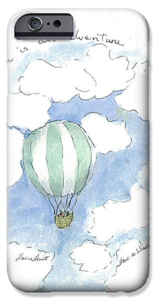Hot Air Balloon iPhone Cases - Flying High iPhone Case by Maria Hunt
