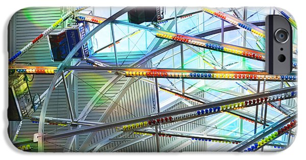Toy Store iPhone Cases - Flying Inside Ferris Wheel iPhone Case by Luther   Fine Art