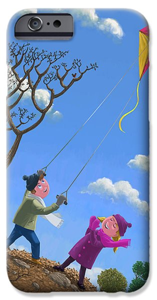flying kite on windy day iPhone Case by Martin Davey