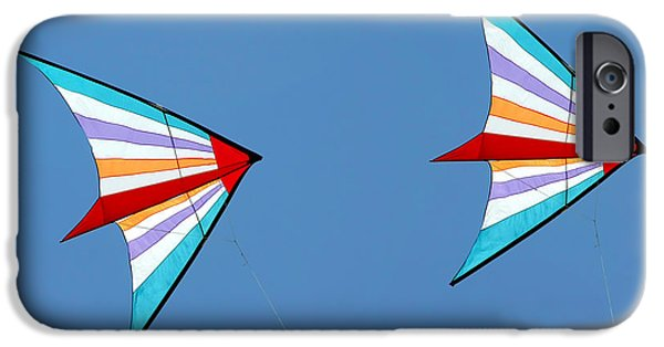 Joy iPhone Cases - Flying kites into the wind iPhone Case by Christine Till